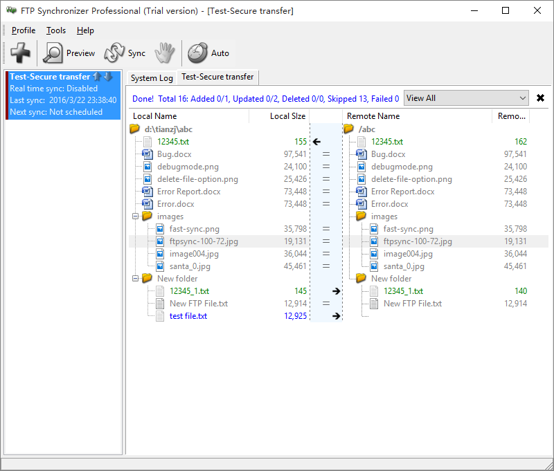 Click to view FTP Synchronizer 7.3 screenshot